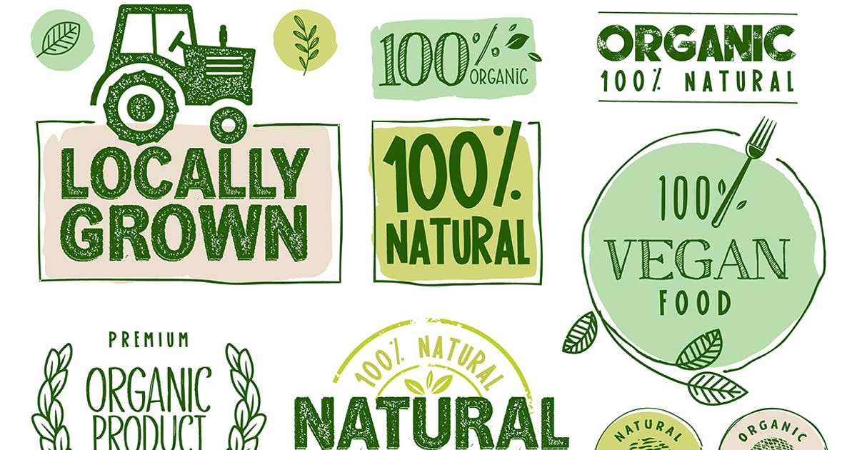 Download Organic Food Stickers and Labels Collection by PureSolution