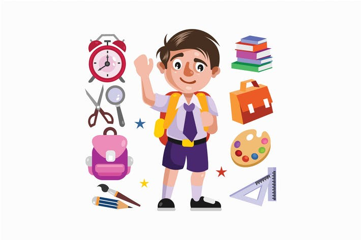 Thumbnail for Boy Student and School Supplies Illustration