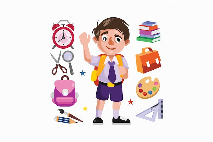 Cover Image For Boy Student and School Supplies Illustration
