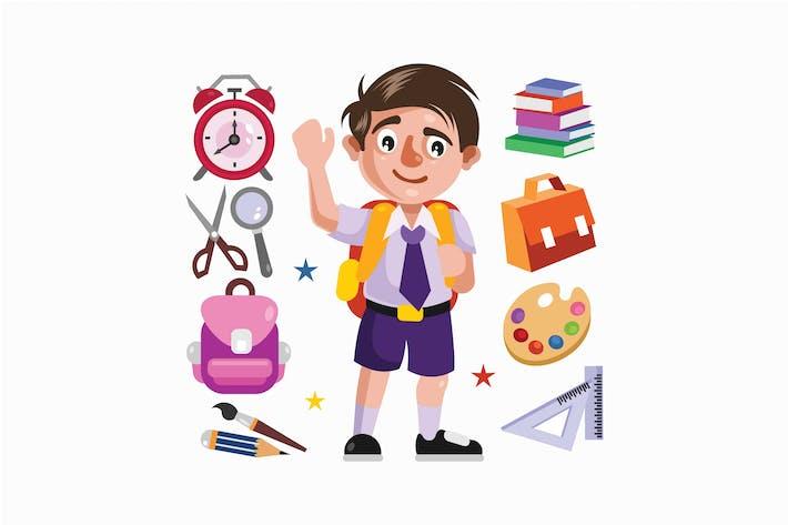 Thumbnail for Niño Estudiante y Suministros Escolares Ilustración
