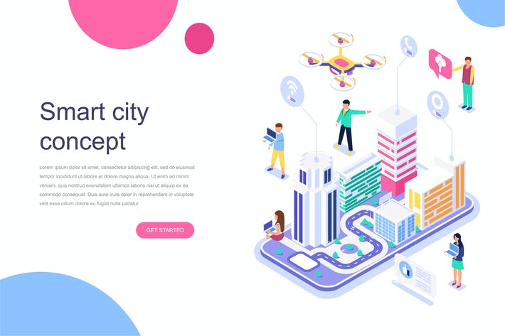 Cover Image For Smart City Isometric Concept