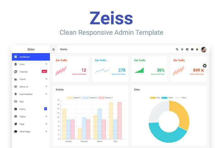 Thumbnail for Zeiss - Clean Responsive Admin-Vorlage