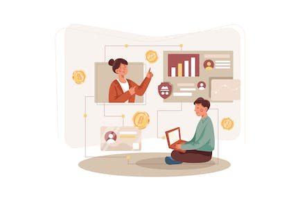 Cryptocurrency Marketplace Illustration Concept