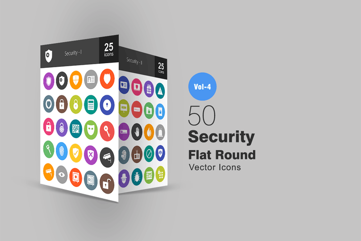 Thumbnail for 50 Security Flat Round Icons