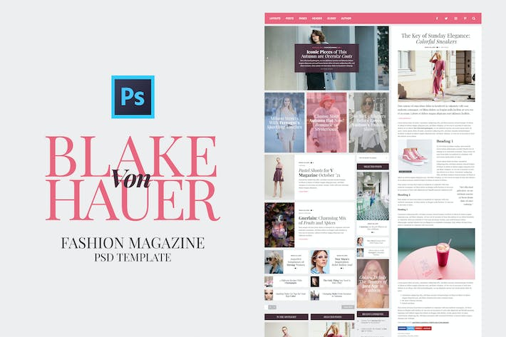 Cover Image For Blake - Fashion Magazine PSD Template