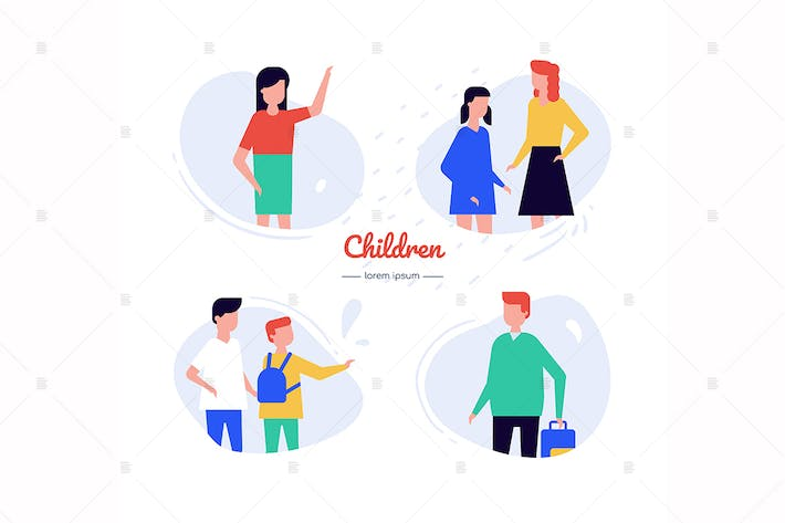 Thumbnail for Children - flat design style characters set