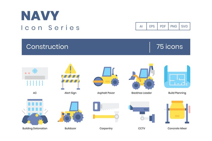 Thumbnail for 75 Construction Flat Icons