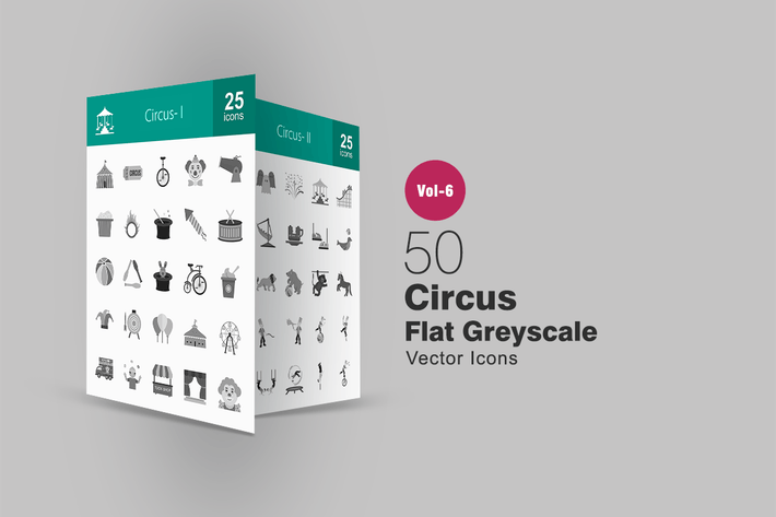 Thumbnail for 50 Circus Flat Greyscale Icons