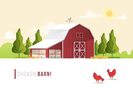 Chicken Barn - Vector Landscape & Building