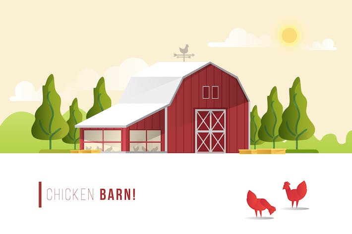 Thumbnail for Chicken Barn - Vector Landscape & Building