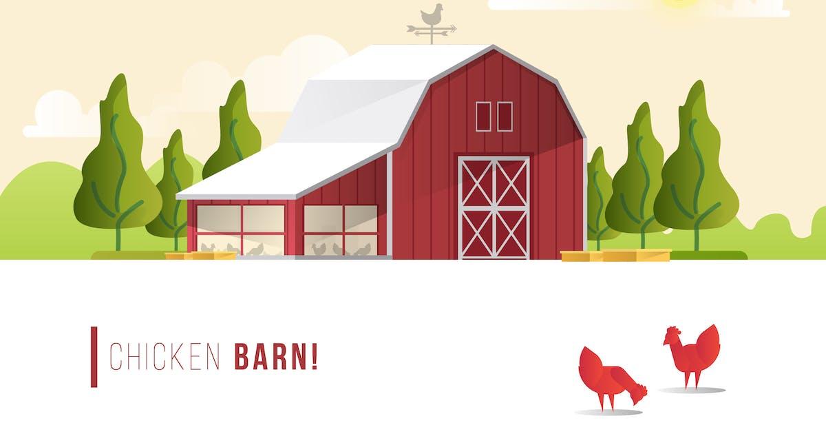 Chicken Barn - Vector Landscape & Building by aqrstudio