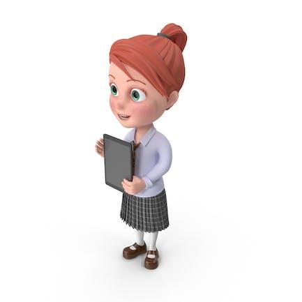 Cartoon Girl Grace with Tablet