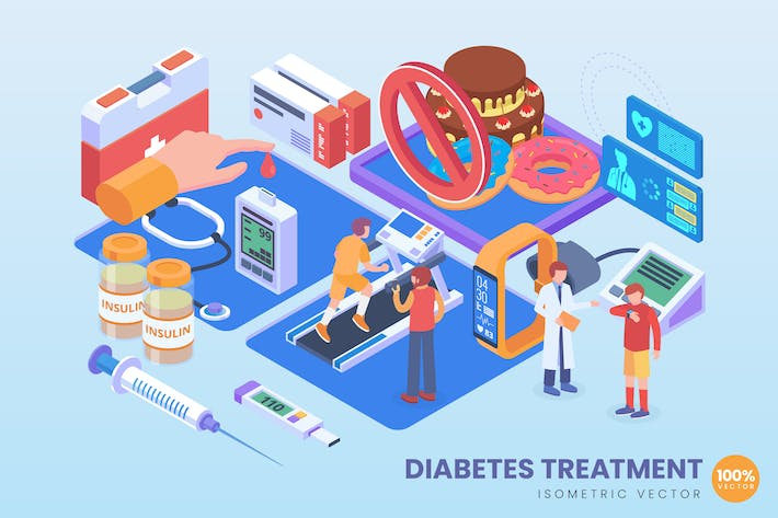 Thumbnail for Isometric Diabetes Treatment Vector Concept