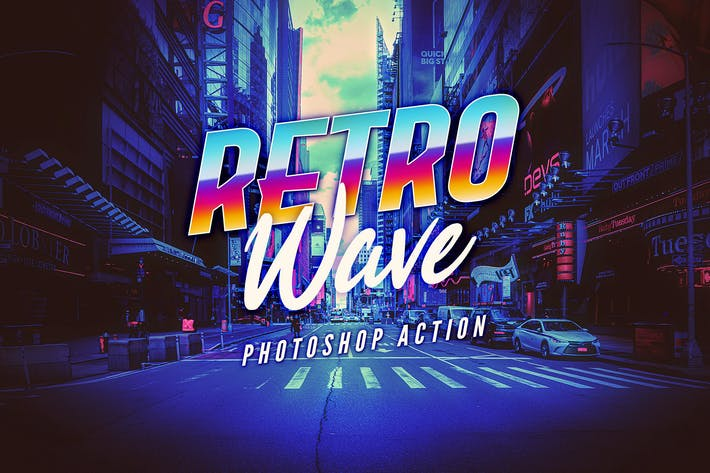Thumbnail for Retro Wave Photoshop Action