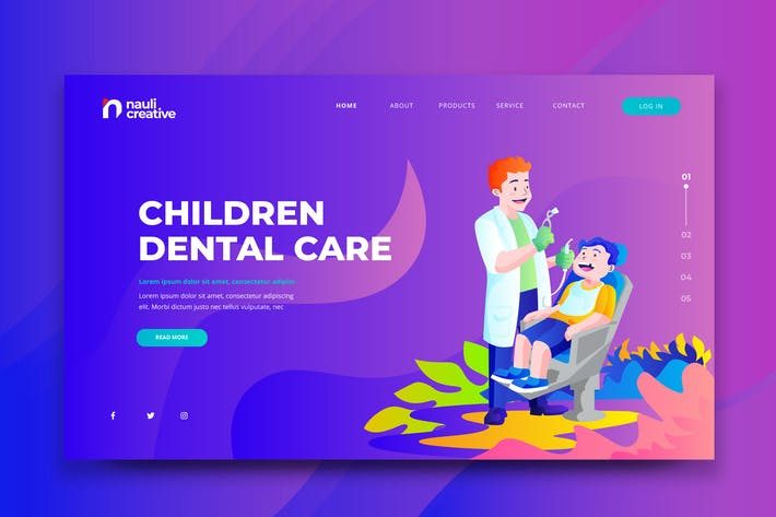 Thumbnail for Children Dental Care Web PSD and AI Template
