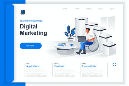 Isometric Marketing Perspective Flat Concept
