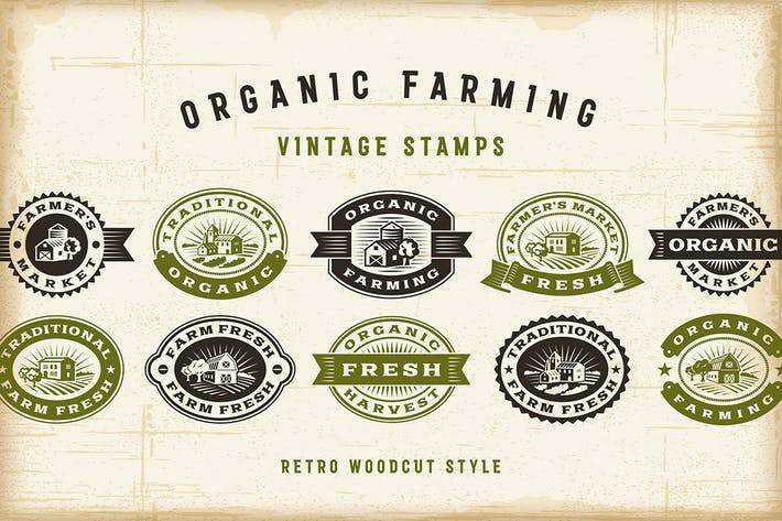 Thumbnail for Vintage Organic Farming Stamps Set