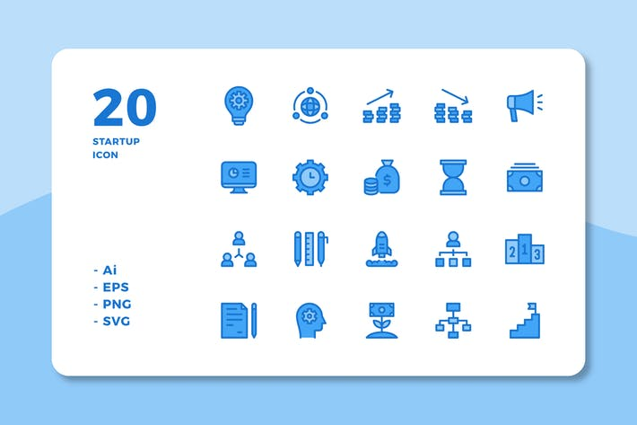 Thumbnail for 20 Startup Icons (Lineal Color)