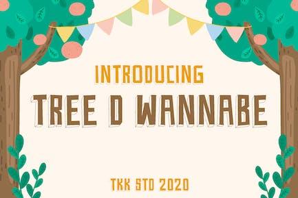 Tree D Wannabe - Kids Block Font