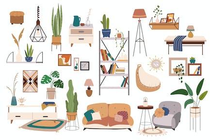 Muebles para el hogar y decoración conjunto elementos aislados