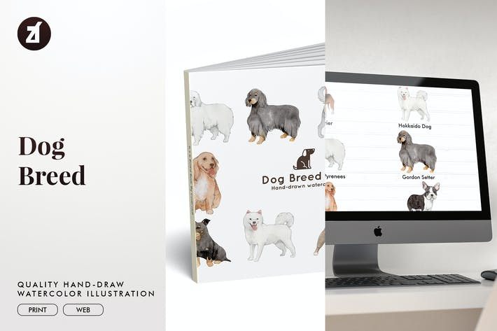 Dog Breed hand-drawn illustration