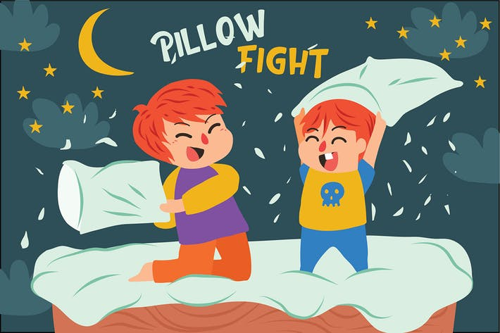 Thumbnail for Pillow Fight - Vector Illustration