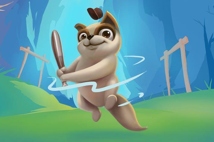 Thumbnail for Eichhörnchen Spielstock Handgezeichnet Digitalmalerei
