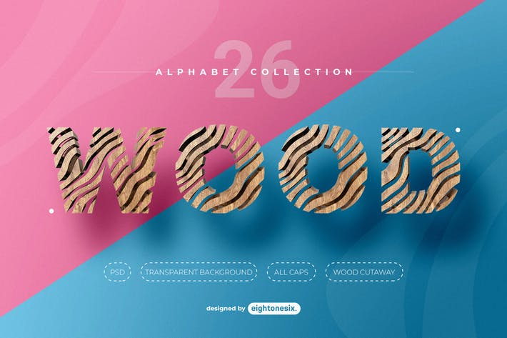 Thumbnail for Abstract Wood Alphabet Letters
