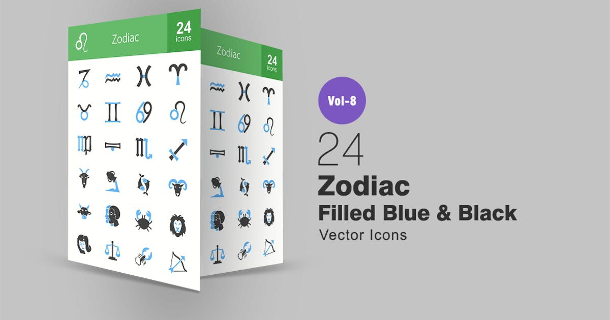 Download 24 Zodiac Filled Blue & Black Icons by IconBunny