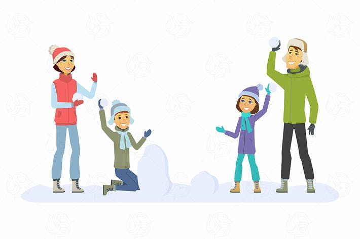 Thumbnail for Family throwing snowballs - vector illustration