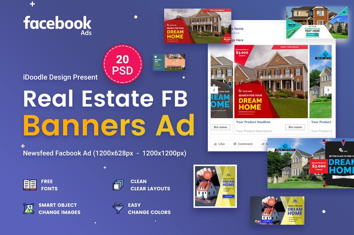 Thumbnail for Facebook Real Estate Banners Ads - 20 PSD