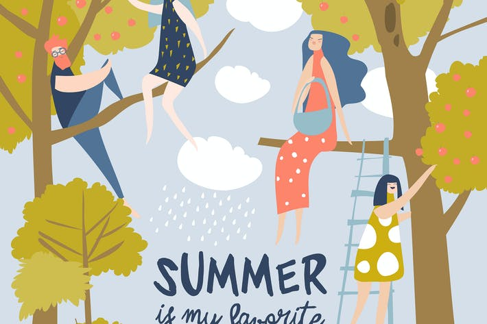 Thumbnail for Happy people sitting on tree. Hello summer. Vector