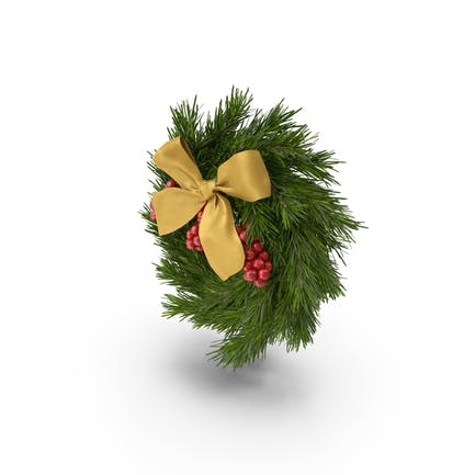 Christmas Wreath With Gold Bow