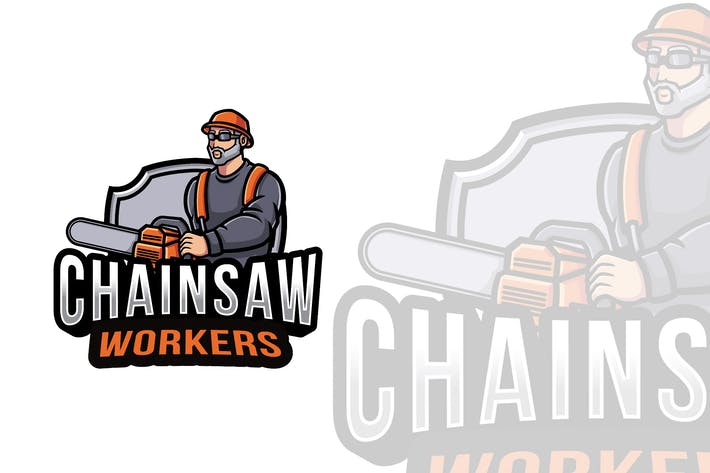 Thumbnail for Chainsaw Workers Logo Template