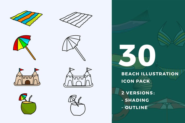 Thumbnail for 30 Beach Illustration Icon Pack