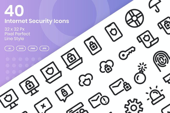 40 Internet Security Icons Set - Line