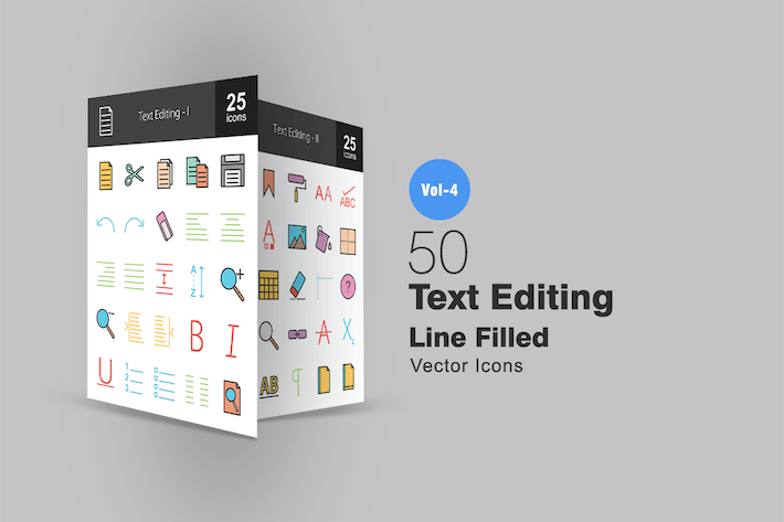 Thumbnail for 50 Text Editing Line Filled Icons