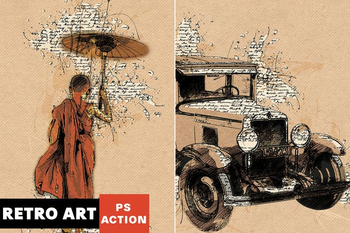 Thumbnail for Retro Art Photoshop Action