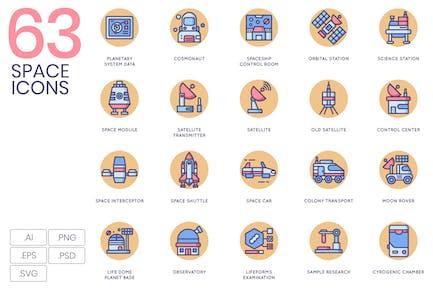Raum Icons Abgerundeten