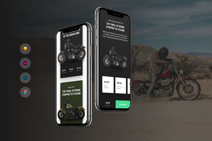 Motorcycle Shop iOS & Android UI Kit Template