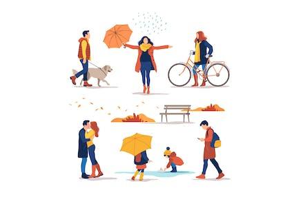 Autumn. People Outdoor