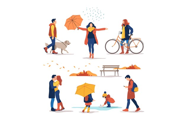 Autumn. People Outdoor
