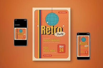 Retro Party Flyer Set