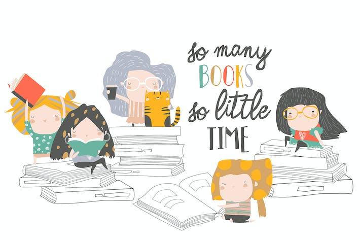 Thumbnail for Group of cartoon children reading books. Vector