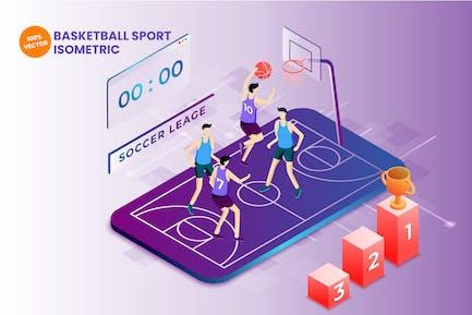 Isometrische Basketball-Sport-Vektor Illustration