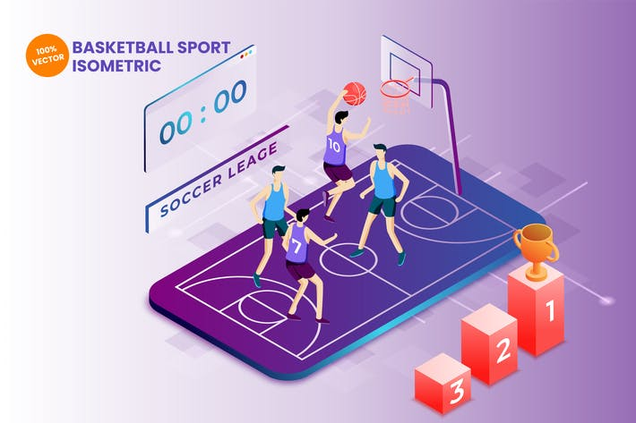 Thumbnail for Isometric Basketball Sport Vector Illustration