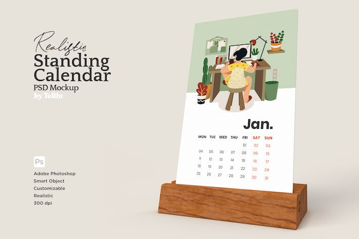 Thumbnail for Realistic Calendar with Wood Standing PSD Mockup