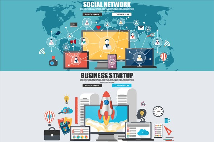 Cover Image For Flat Concept Social Network, Startup