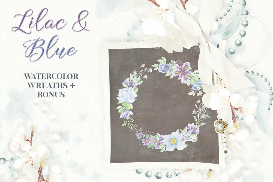 Lilac and Blue Watercolor Wreath