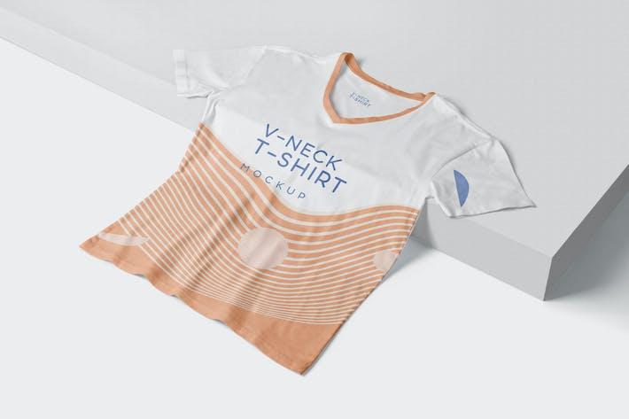 Thumbnail for 5 Trendy V-Neck T-Shirt Mockups